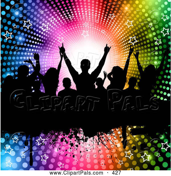 Pal Clipart of Silhouetted Dancers on a Grunge Bar over a Halftone Starry Rainbow Vortex