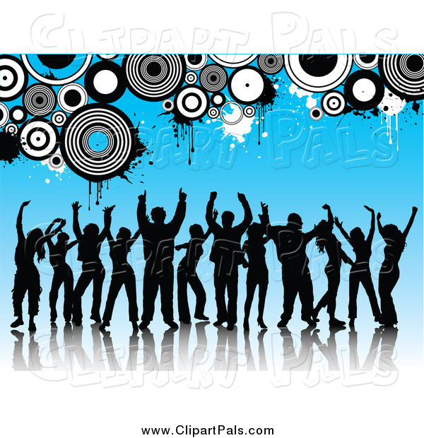 Pal Clipart of Silhouetted Dancers over Blue with Circles and Grunge
