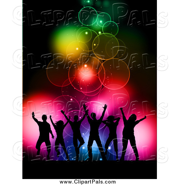 Pal Clipart of Silhouetted Dancers over Colorful Bokeh Lights