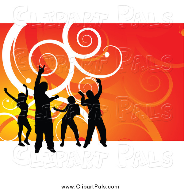 Pal Clipart of Silhouetted Dancers over Gradient Orange with White Swirls