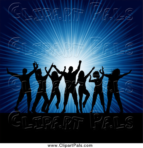 Pal Clipart of Silhouetted Party People Dancing over a Blue Burst
