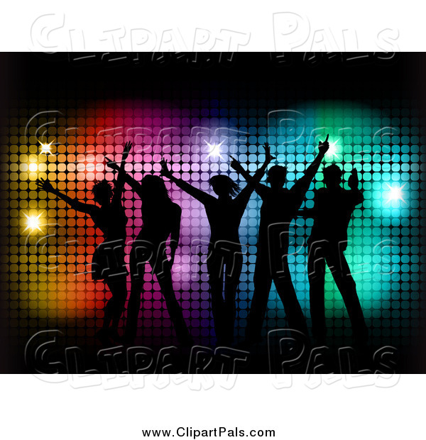 Pal Clipart of Silhouetted People Dancing over Colorful Halftone and Black