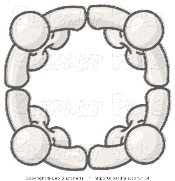 Pal Clipart of Sketched White Design Mascots Standing in a Circle, Holding Hands, Conceptualizing Team Work, Friendship, Support, Networking, Family, Co-Workers, and Unity