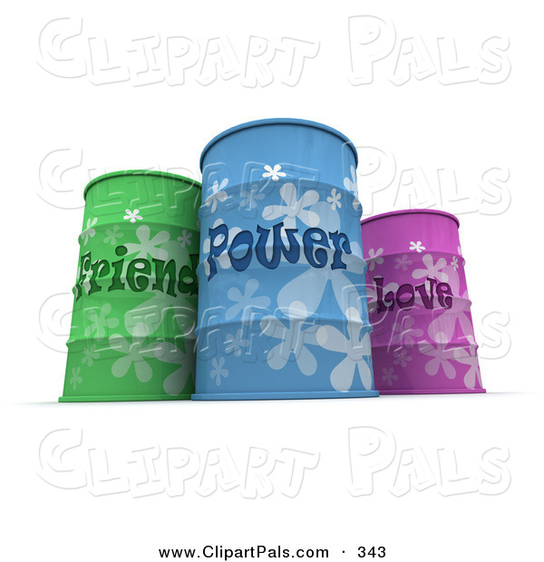 Pal Clipart of Three Colorful Friend, Power and Love Barrels on White