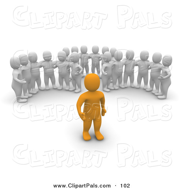 Pal Clipart of Three Groups of 3d Blanco Men Watching an Orange Man