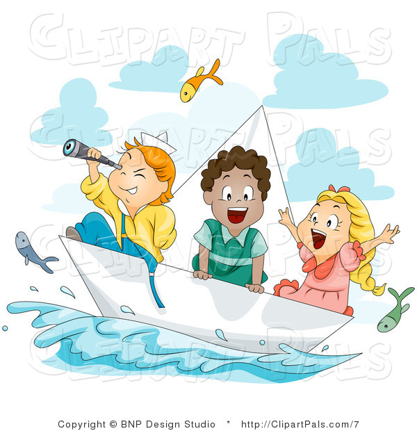 Pal Clipart of Three Happy Kids Exploring on a Paper Boat