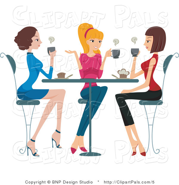 Pal Clipart of Three Ladies Chatting over Coffee