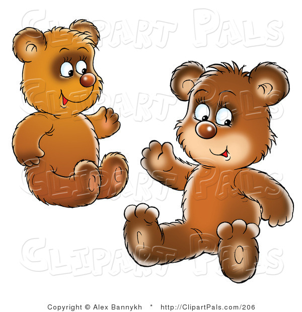 Pal Clipart of Two Brown Bear Cubs, Siblings or Friends, Sitting on the Ground and Waving