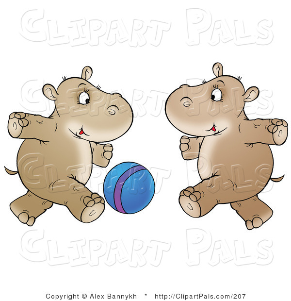 Pal Clipart of Two Brown Hippos Running and Playing with a Blue Ball