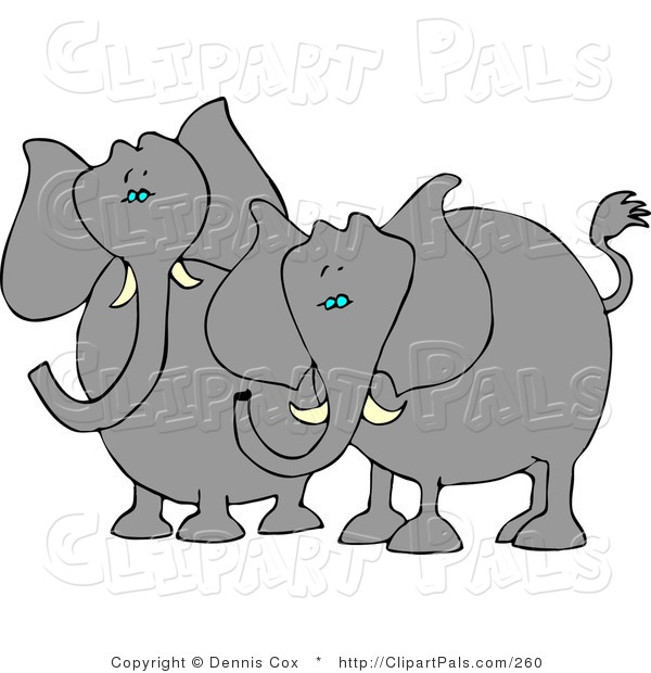 Pal Clipart of Two Elephants with Tusks Standing Next to Each Other