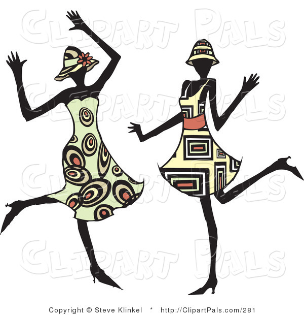 Pal Clipart of Two Energetic Dancing Women in Hats and Fashionable Dresses, Dancing at a Party and Having Fun