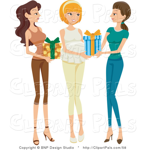 Pal Clipart of Two Friends Bringing Presents to a Baby Shower for a Happy Pregnant Woman