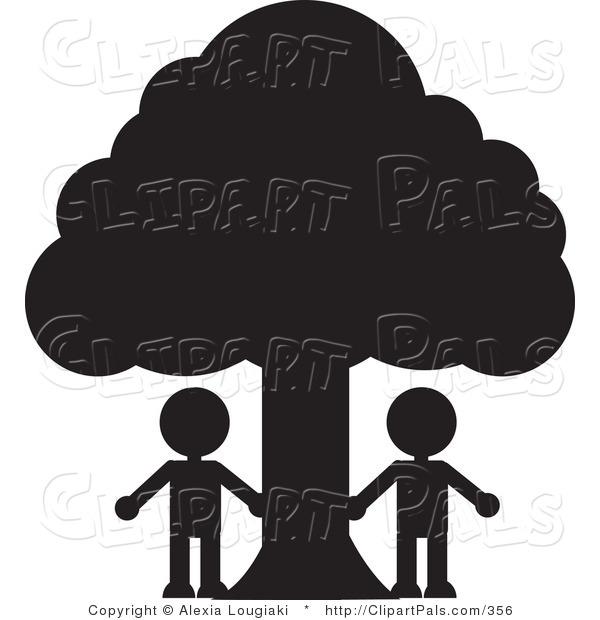 Pal Clipart of Two People Silhouetted in Black Standing Under a Large Tree