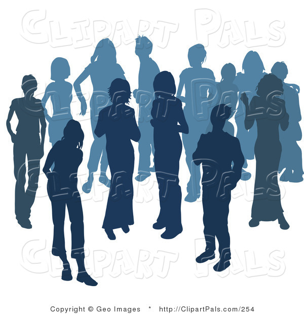 Pal Clipart of Two Women Chatting Among a Crowd of Silhouetted Blue People on White