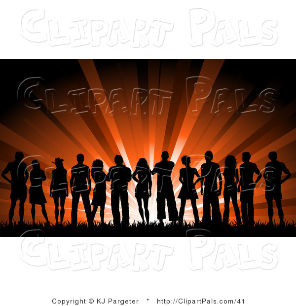 Pal Vector Clipart of a Large Silhouetted Group of Young People Outside Against Red Lights