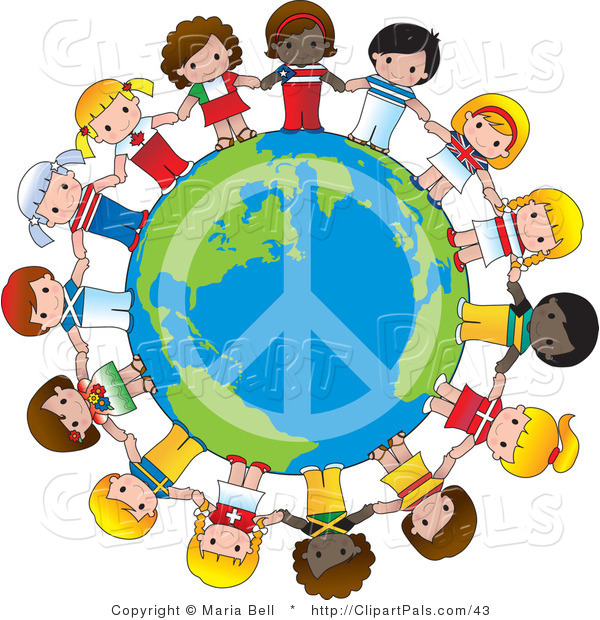 Pal Vector Clipart of a Peace Sign on Planet Earth Circled by Cute International Girls Holding Hands