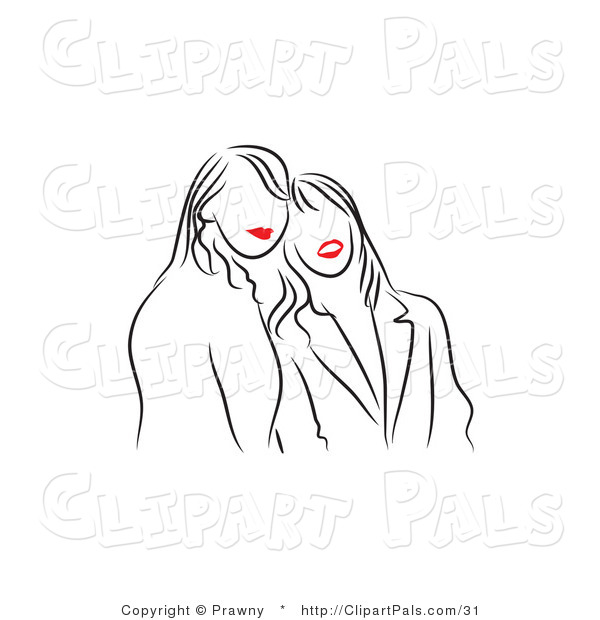 Pal Vector Clipart of Black and White Red Lipped Friends Smiling