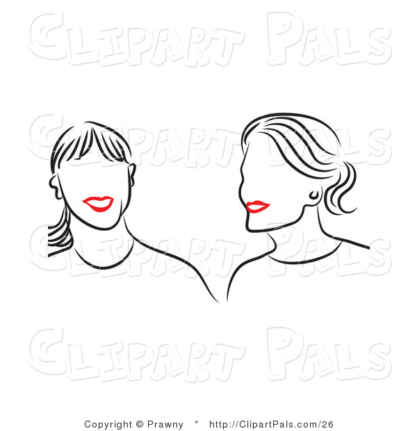 Pal Vector Clipart of Friends with Red Lips