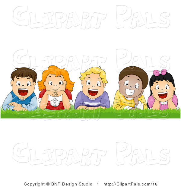 Pal Vector Clipart of Happy Kids Laying in the Grass