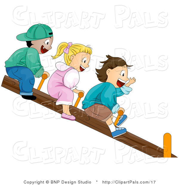Pal Vector Clipart of Happy Kids on a Teeter Totter