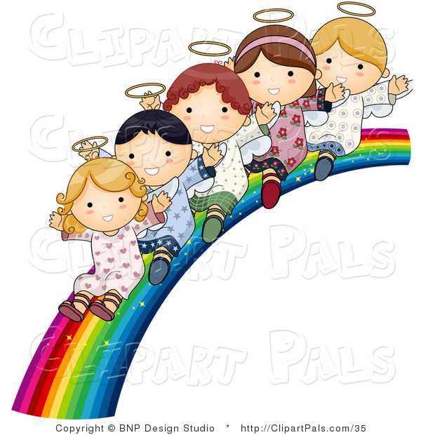 Pal Vector Clipart of Innocent Children Sliding down a Rainbow