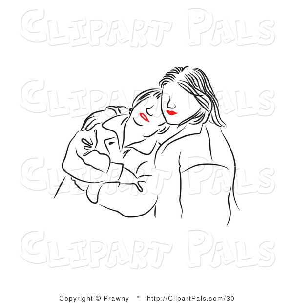 Pal Vector Clipart of Red Lipped Black and White Girls Comforting
