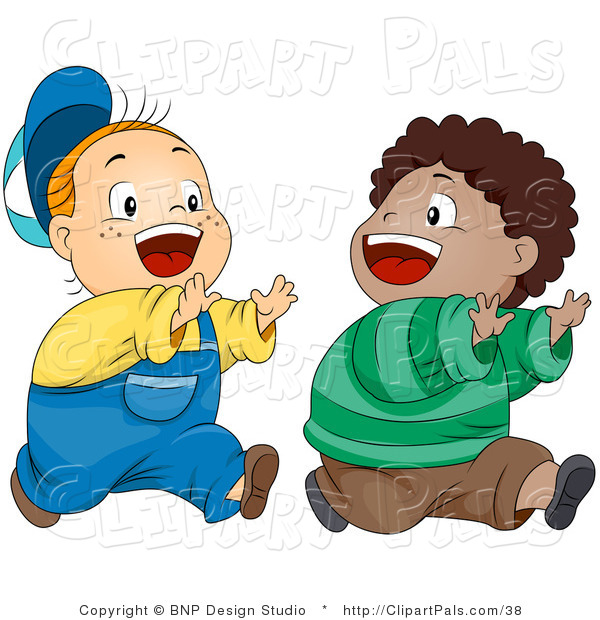 Pal Vector Clipart of Two Happy Boys Playing Chase