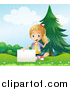 Clipart of a Blond Girl Waving and Sitting with a Sign in a Park by Graphics RF