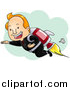 Clipart of a Successful Businessman Flying with Rocket Pack - Cartoon Style by BNP Design Studio