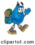 Clipart of a Water Drop Hiking and Carrying a Backpack by Toons4Biz