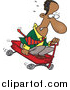 Pal Clipart of a Cartoon Black Business Man Riding Downhill in a Wagon by Toonaday