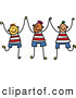 Pal Clipart of a Childs Sketch of a Trio of Boys Holding up Their Hands by Prawny