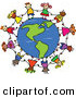 Pal Clipart of a Childs Sketch of Children Holding Hands Around an American Globe on White by Prawny