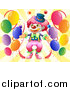 Pal Clipart of a Clown with Balloons and Rays by Graphics RF