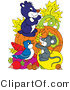Pal Clipart of a Colorful Blue Bird, Mouse and Gopher on Top of Veggies and Fruit in Front of a Pumpkin by Alex Bannykh