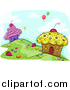 Pal Clipart of a Cupcake Homes on a Hill Side with Balloons Floating Away by BNP Design Studio