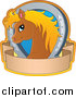 Pal Clipart of a Cute Brown Pony with a Blond Mane Horseshoe and Banner by Visekart
