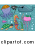 Pal Clipart of a Cute Turtle Fish Seahorse Octopus Jellyfish and Whale with Bubbles by BNP Design Studio