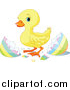 Pal Clipart of a Cute Yellow Easter Duckling by Pushkin