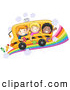 Pal Clipart of a Diverse Group of School Kids on a Bus on a Rainbow Road by BNP Design Studio