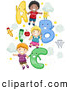 Pal Clipart of a Diverse Group of School Kids with Letters by BNP Design Studio