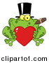 Pal Clipart of a Frog Smoking a Cigar, Wearing a Top Hat and Holding a Heart by Hit Toon