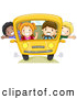 Pal Clipart of a Group of Diverse School Kids on a Bus by BNP Design Studio