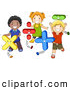 Pal Clipart of a Group of Diverse School Kids Playing with Math Shapes by BNP Design Studio