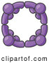 Pal Clipart of a Group of Four Purple People Standing in a Circle and Holding Hands for Teamwork and Unity by Leo Blanchette