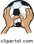 Pal Clipart of a Hands Holding up a Soccer Ball by Jtoons
