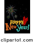Pal Clipart of a Happy New Year Greeting with Fireworks over Black by BNP Design Studio