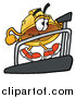 Pal Clipart of a Hard Hat Character Walking on a Treadmill in a Fitness Gym by Toons4Biz