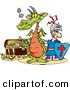 Pal Clipart of a Knight and Green Dragon Standing in Front of a Treasure Chest by Dennis Holmes Designs