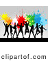 Pal Clipart of a Line of Dancing Silhouetted Adults Jumping Against a Gray Background with Colorful Splatters by KJ Pargeter